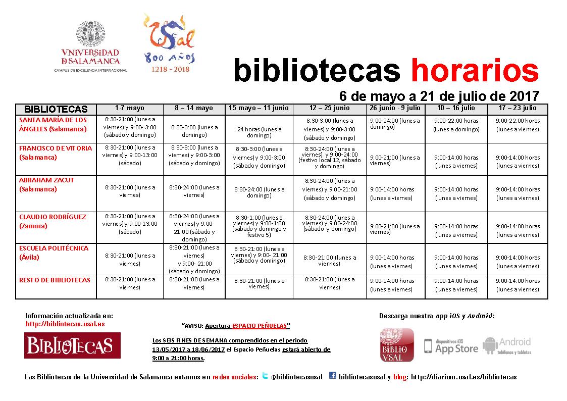 Horarios de bibliotecas 6 de mayo - 21 de julio de 2017