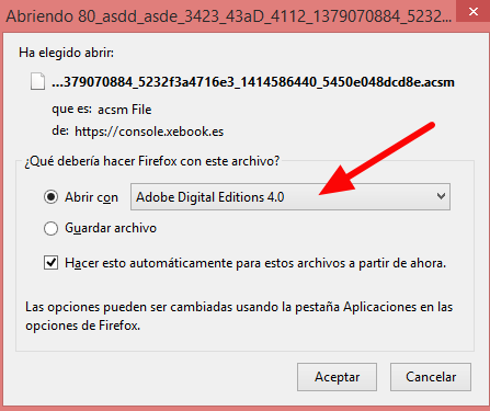 Abrir con Adobe Digital Editions