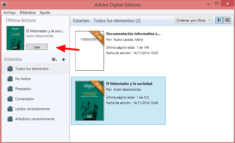 Leer con Adobe Digital Editions