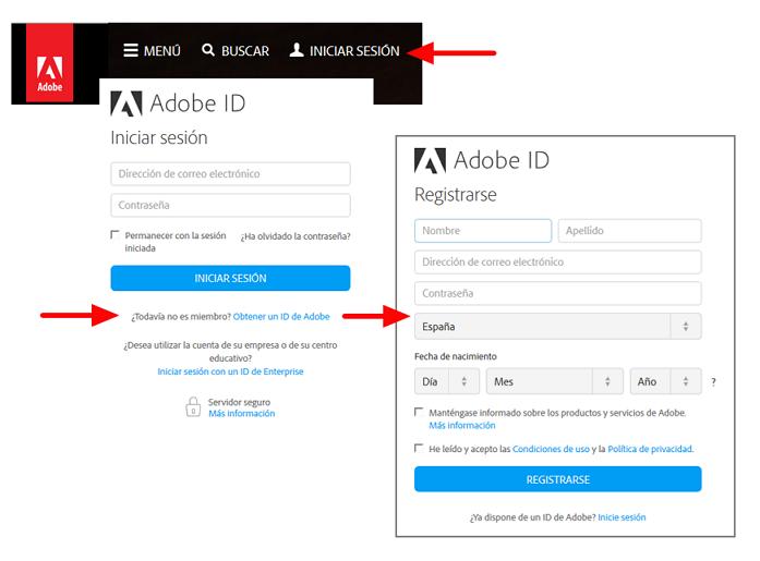 Crear una cuenta de Adobe