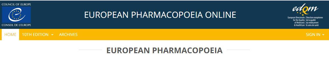 European Pharmacopoeia Online