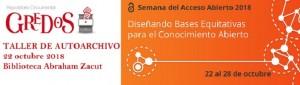 """Talleres exprés """"Autoarchivo de documentos en el repositorio Gredos"""" 2018"""
